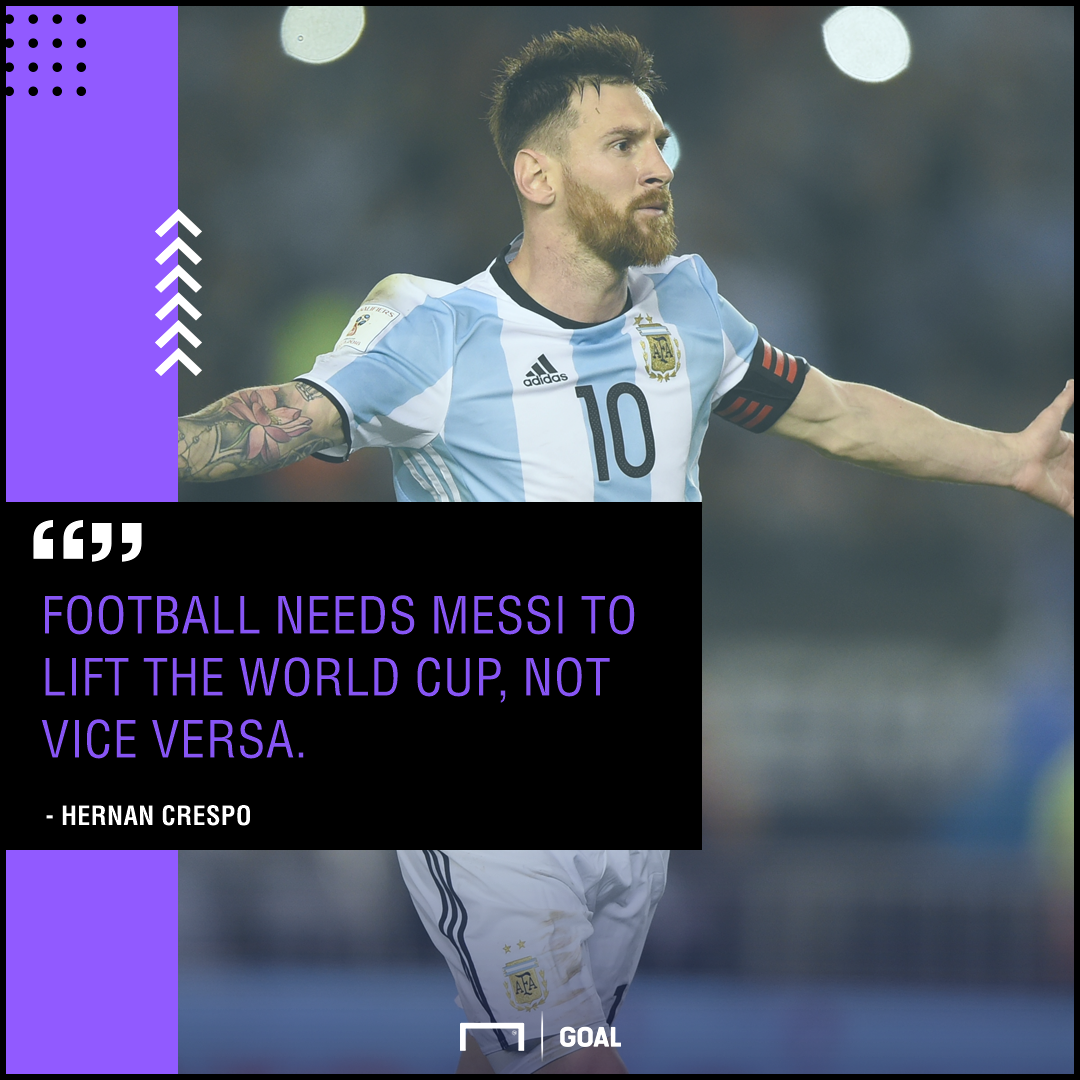 Lionel Messi doesn't need World Cup win Hernan Crespo