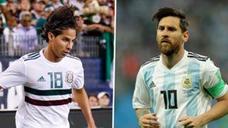 Diego Lainez and Lionel Messi