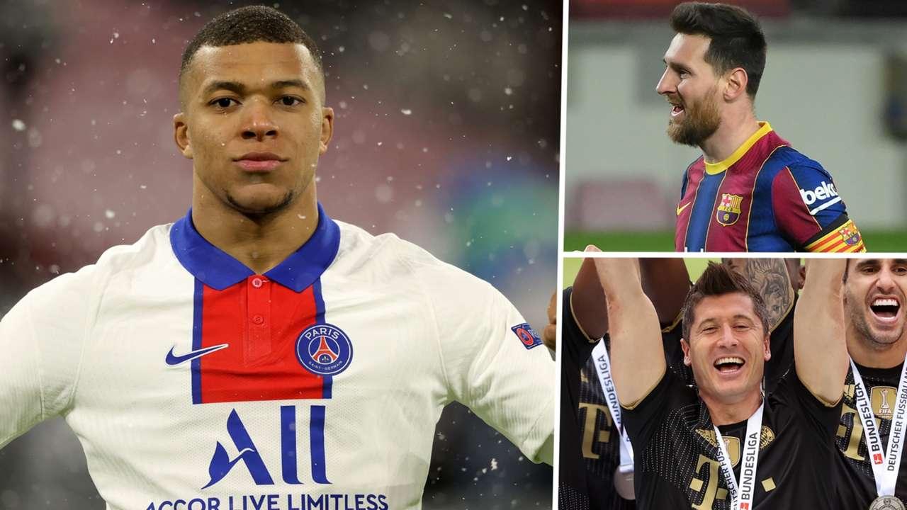 Kylian Mbappe Lionel Messi Robert Lewandowski GFX