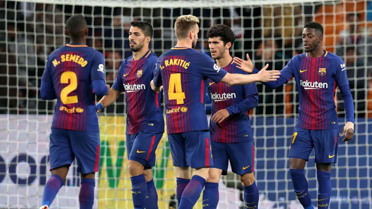 Barcelona players celebrate Luis Suarez goal against Sundowns - May 16 2018