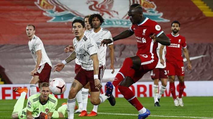 Sadio Mane scores for Liverpool vs Arsenal, Premier League 2020-21