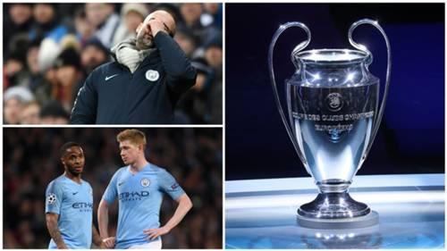 Manchester City Guardiola, De Bruyne, Sterling, Champions League trophy
