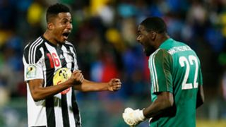 Koffi Kouame and Sylvian Gbohouo of TP Mazembe celebrate CAF Confederation Cup Novermber 2017