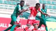 Chetambe Namasaka Danson of Kenya and Harambee Stars vs Johnson Gibson of South Sudan.