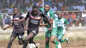 BRIAN OTIENO of Nzoia Sugar v Jacques Tuyisenge of Gor Mahia.