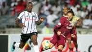 Marc Van Heerden of Stellenbosch FC challenged by Ntsikelelo Nyauza of Orlando Pirates, October 2019