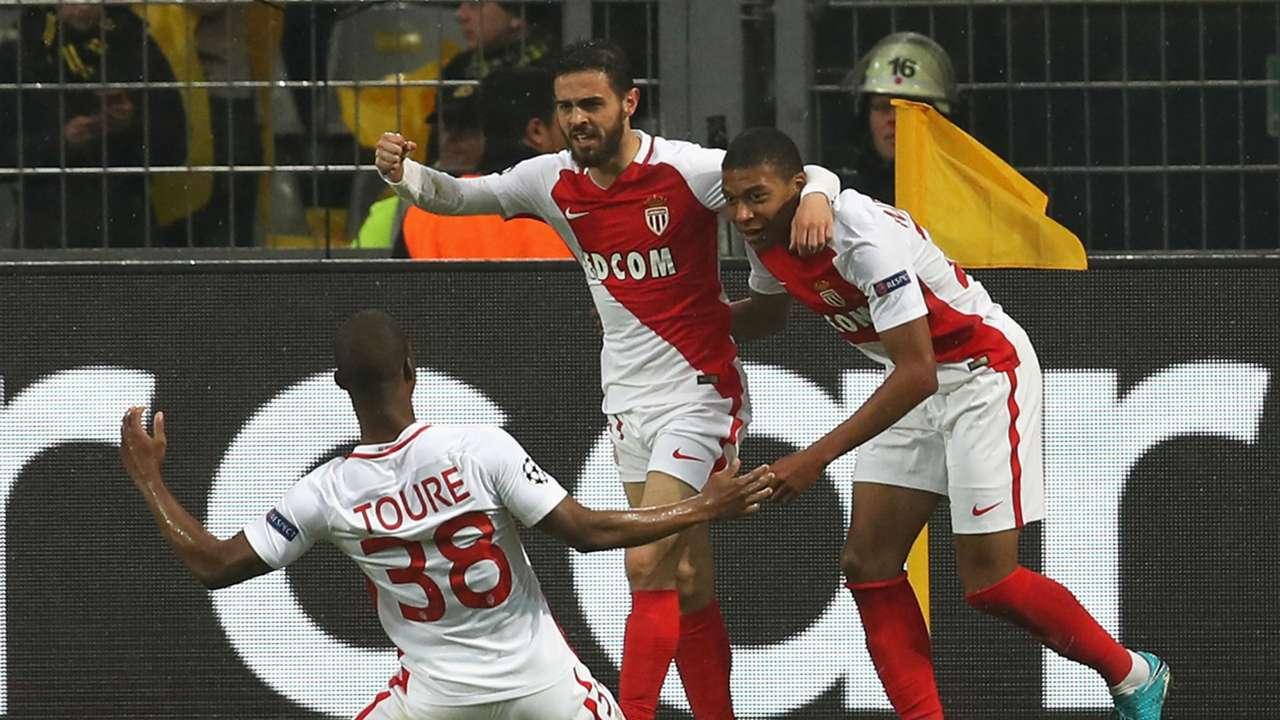 Monaco celebrate Kylian Mbappe Borussia Dortmund