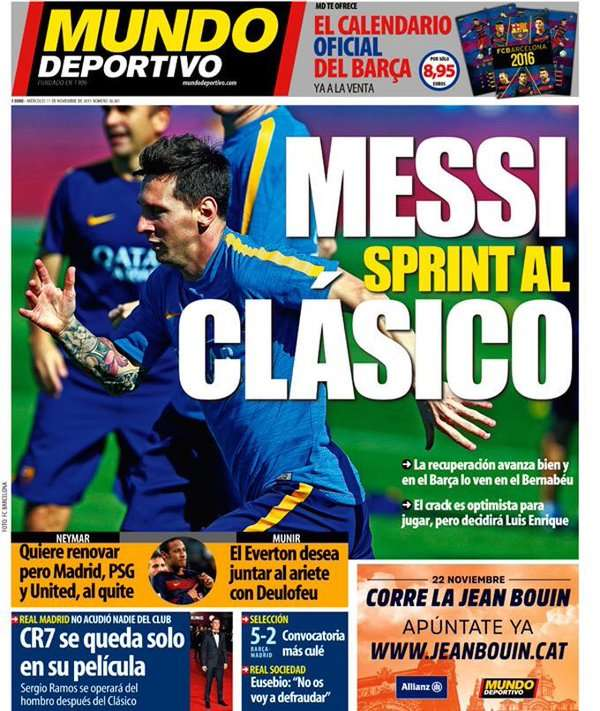 Mundo Deportivo frontpage 11112015