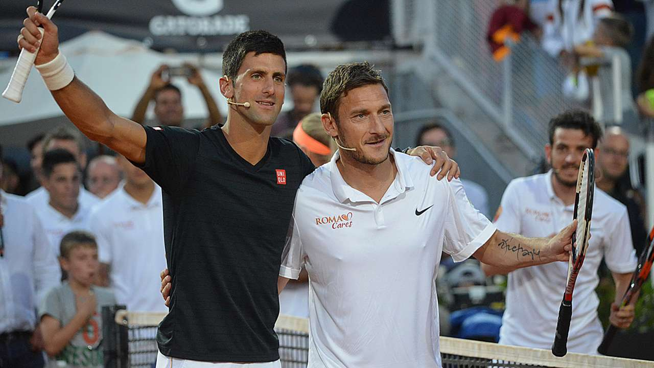 Gallery Francesco Totti And Novak Djokovic In Charity Tennis Match Against Caroline Wozniacki Goal Com