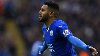 Riyad Mahrez celebrates Leicester Swansea 24042016