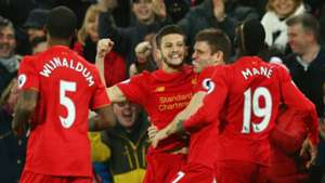 HD Liverpool celebrate Adam Lallana goal
