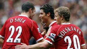 John O'Shea, Cristiano Ronaldo, Ole Gunnar Solskjaer, Manchester United