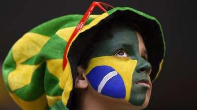 Brazil football fan kid