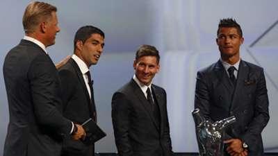 Peter Schmeichel Luis Suarez Lionel Messi Cristiano Ronaldo