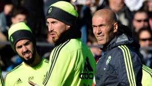 Zinedine Zidane Sergio Ramos Real Madrid Training