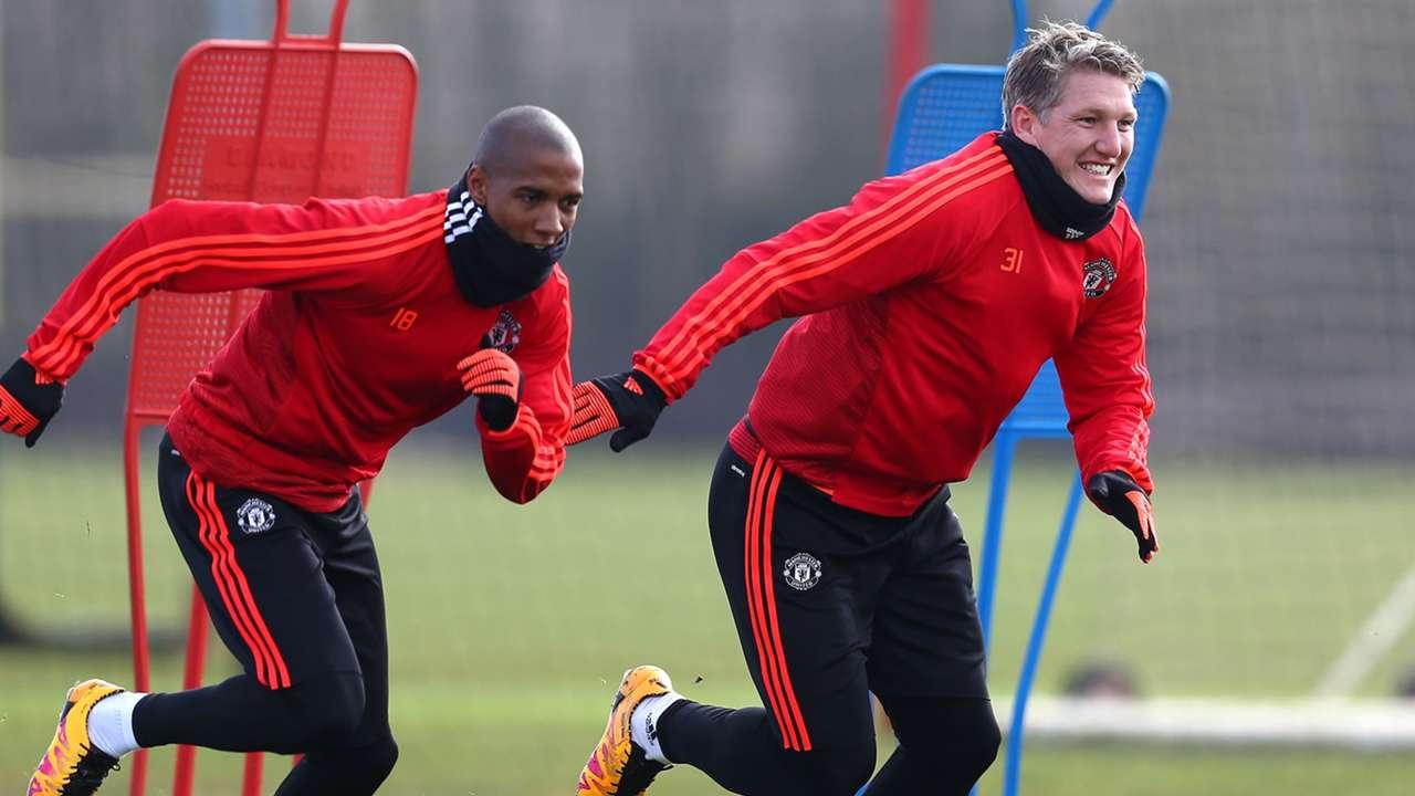 Bastian Schweinsteiger Ashley Young Manchester United training