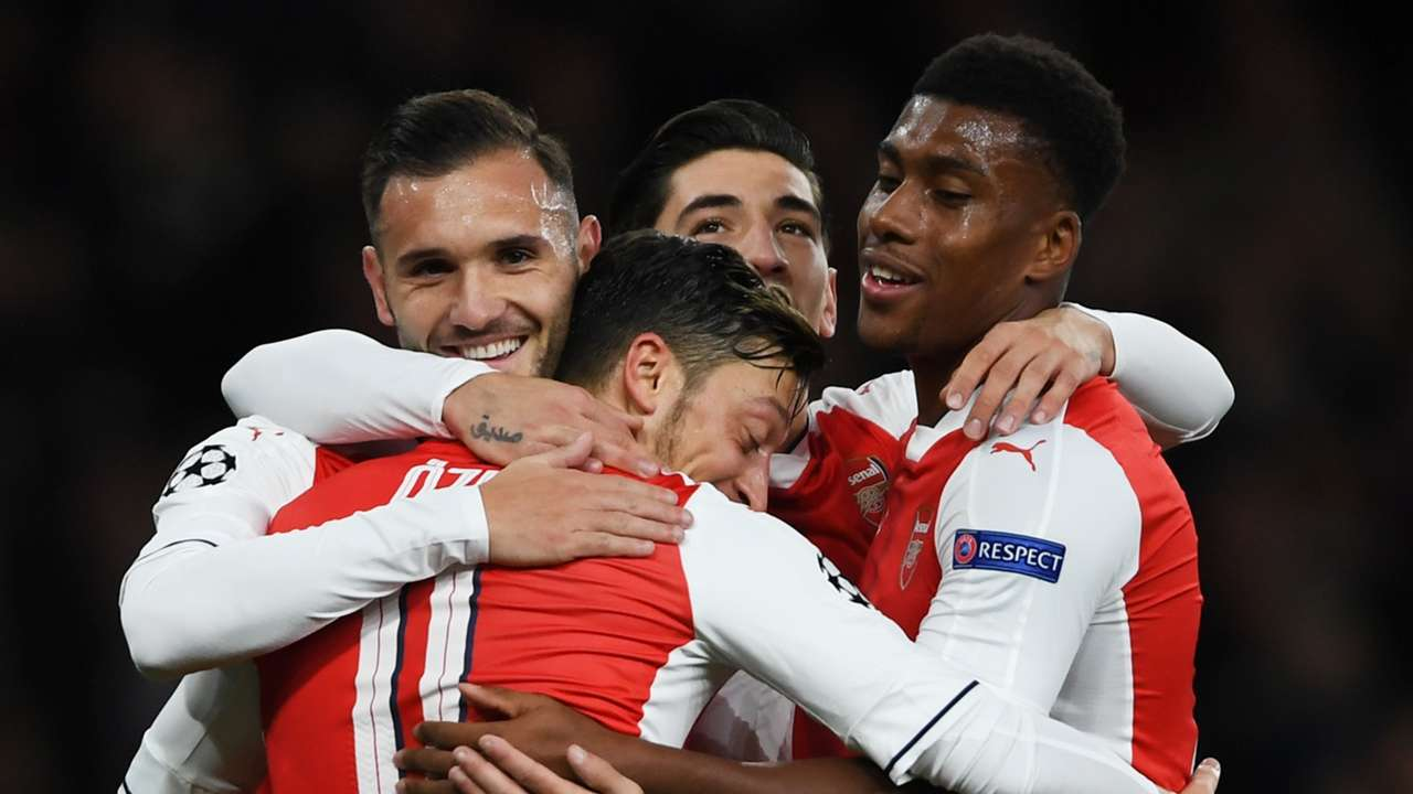 Mesut Ozil celebrates with Arsenal