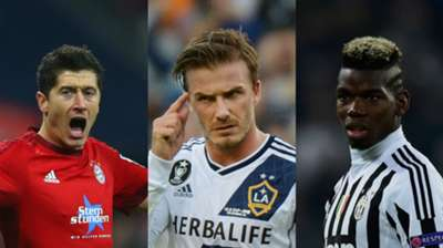 Robert Lewandowski David Beckham Paul Pogba collage