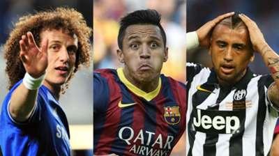 David Luiz Alexis Sanchez Arturo Vidal collage