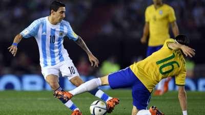 Angel Di Maria Filipe Luis Argentina Brasil World Cup Qualifiers 2015