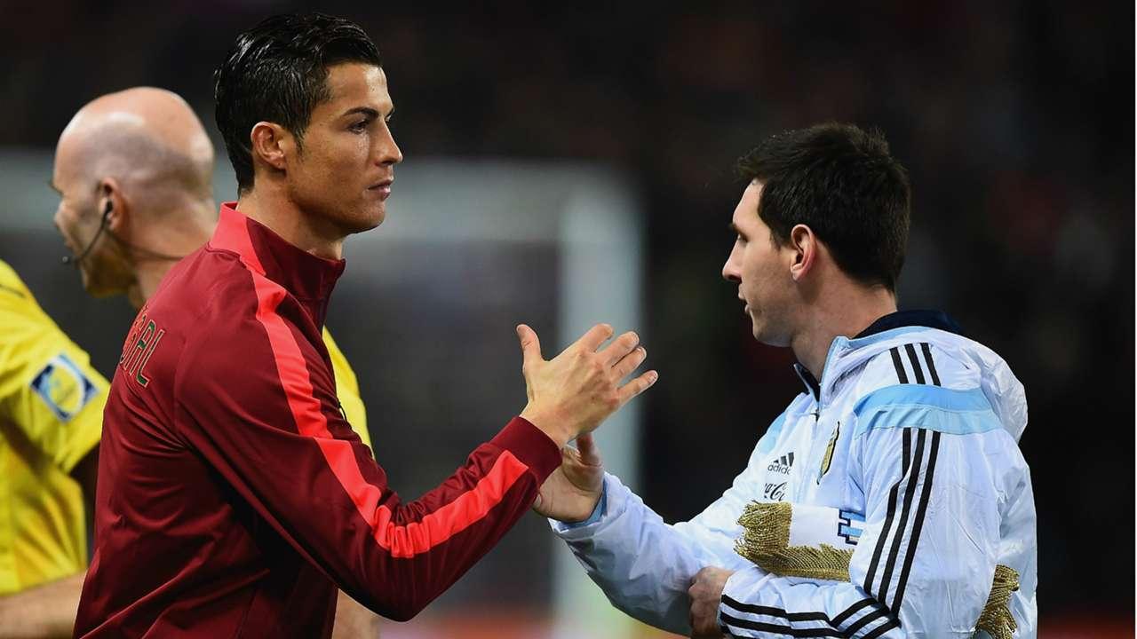 Crisitiano Ronaldo Lionel Messi Argentina Portugal Friendly Match Old Trafford 18112014