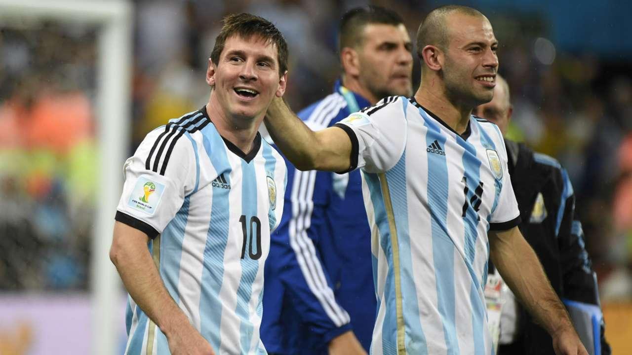 Lionel Messi Javier Mascherano Argentina Netherlands FIFA World Cup 2014