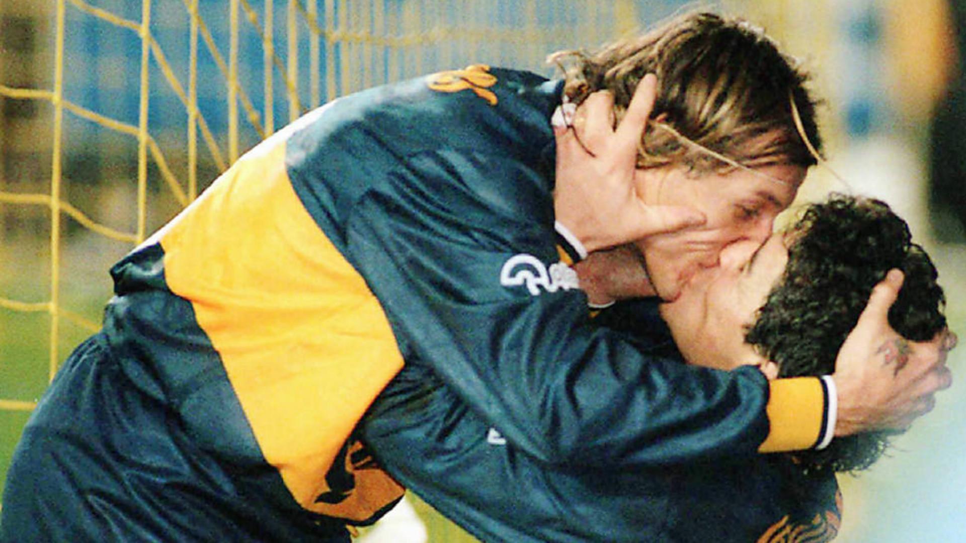 Diego Maradona Claudio Caniggia Boca Juniors Kiss 1996