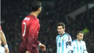 Cristiano Ronaldo Lionel Messi Argentina Portugal Friendly Match Old Trafford 18112014