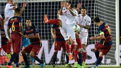 Lionel Messi Barcelona Sevilla European Supercup 2015