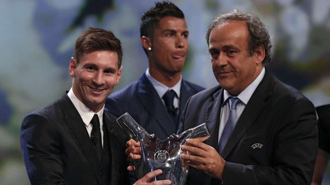 Lionel Messi Michel Platini Cristiano Ronaldo UEFA Champions League Group stage draw ceremony