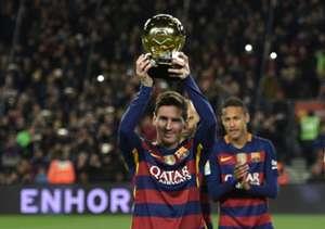 Messi, y su quinto balón de oro. Antes del encuentro contra Athletic. 17.1.2016