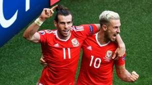 Gareth Bale Aaron Ramsey Wales v Northern Ireland Euro 2016 25062016
