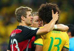 Thomas Muller and Schweinsteiger consolate Dante Brazil Germany 2014 World Cup 07082014