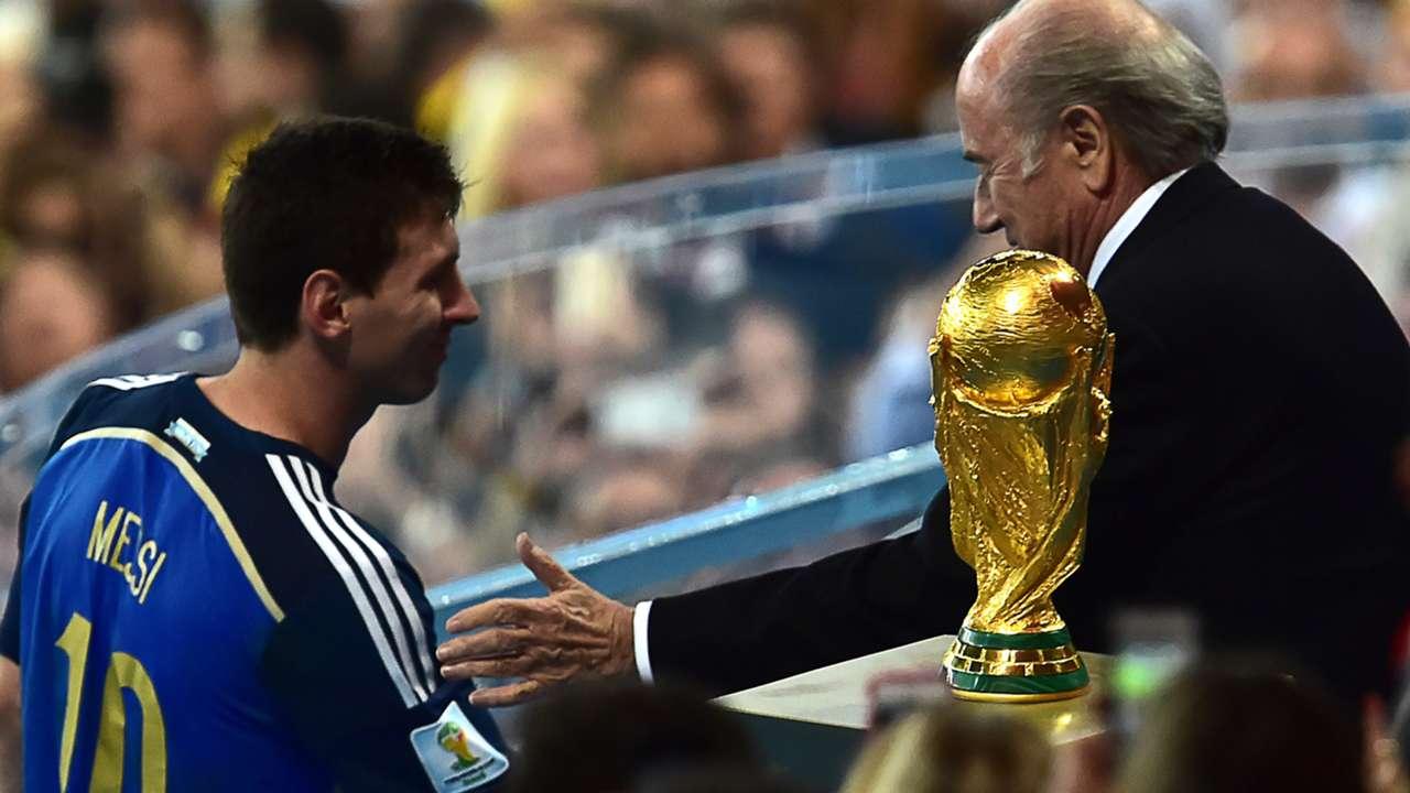 Lionel Messi and Joseph Blatter