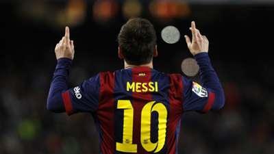 Lionel Messi celebrates Barcelona Almeria La Liga 08042015