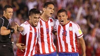 Roque Santa Cruz Dario Lezcano Richard Ortiz Paraguay Brazil 2018 WC Qualifiers 03292016