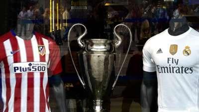 Camisas Atlético Madrid e Real Madrid final UCL 16
