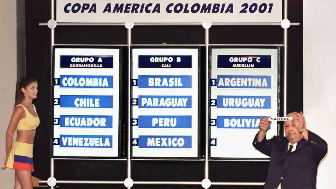 Este fue el fixture el día del sorte de la Copa América Colombia 2001