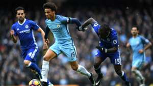 Leroy Sane of Manchester City and Victor Moses of Chelsea