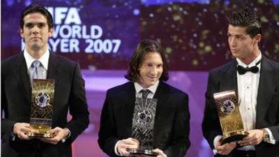Kaka Lionel Messi Cristiano Ronaldo Ballon d'Or 2007