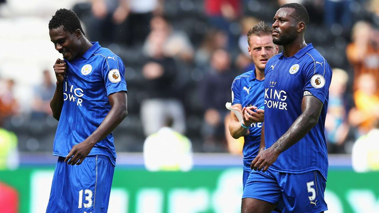 Daniel Amartey, Wes Morgan and Jamie Vardy of Leicester