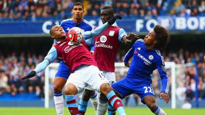 Jordan Ayew of Aston Villa & Willian of Chelsea