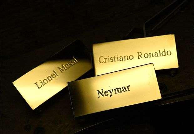 Lionel Messi Cristiano Ronaldo Neymar nametags Ballon d'Or 2015