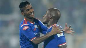 Narayan Das of FC Goa and Gregory Arnolin during ISL match against FC Pune City