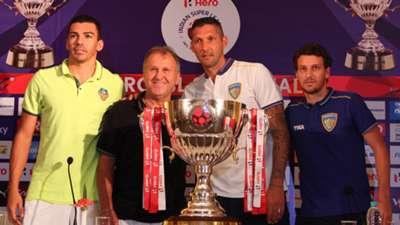 Lucio Zico Marco Materazzi Elano Blumer FC Goa Chennaiyin FC ISL 2015 final press conference