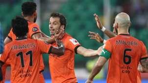 Alessandro Del Piero of Delhi Dynamos FC celebrates goal with team mates during ISL match against Chennaiyin FC
