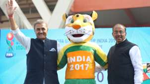 Praful Patel Vijay Goel unveil Official Mascot FIFA U-17 World Cup India 2017