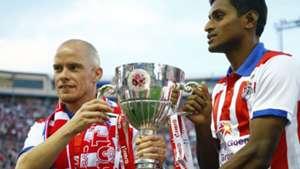 Atletico de Kolkata showcases the Indian Super League trophy to Atletico de Madrid fans