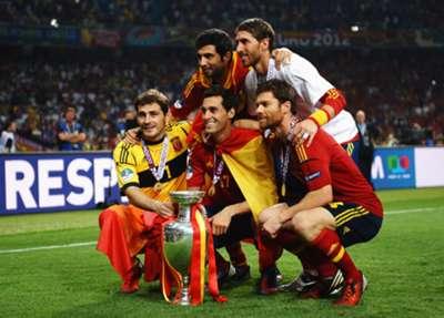 Xabi Alonso, Iker Casillas, Sergio Ramos - Spain - Euro 2012