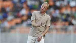 Coach Frank Nuttall reacts as Gor Mahia beat KMKM of Zanzibar in Tanzania